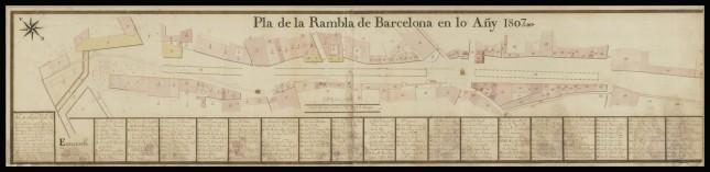 Egy 1807-es térkép a híres barcelonai útról, ami a dombokról vezet a tenger felé (forrás Wikipedia)