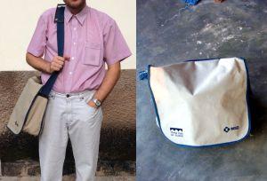 Ez a 12 éves táska némi reparálással még mindig használható. Kényelmes, még akkor is, ha megvan pakolva és úgy néz ki mint egy kisdisznó. (Igen, egy konferenciai PR tatyó, de minőségi.)
